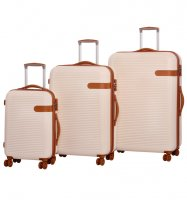 Sada cestovních kufrů ROCK TR-0159/3 ABS - krémová